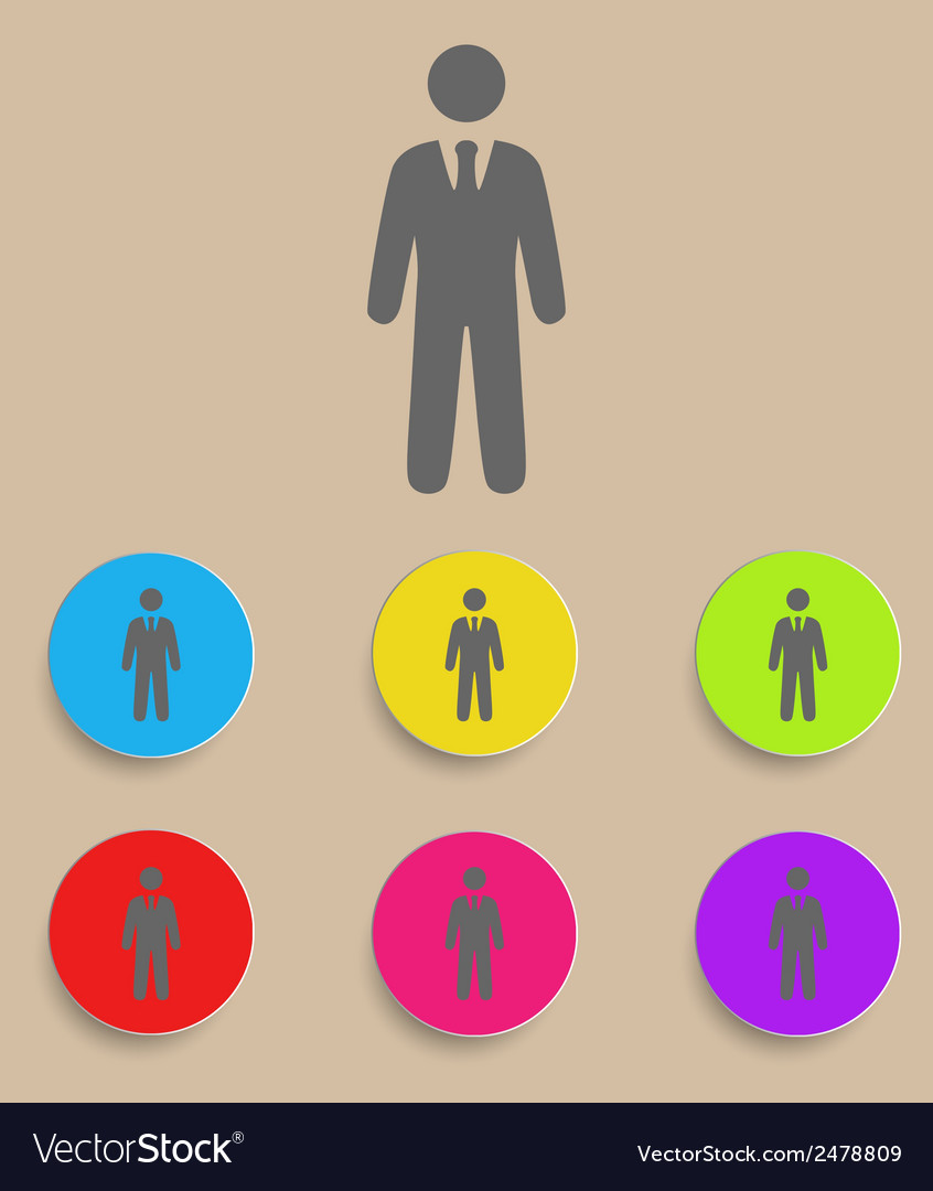 Businessman black web icon with color variations vector | Price: 1 Credit (USD $1)