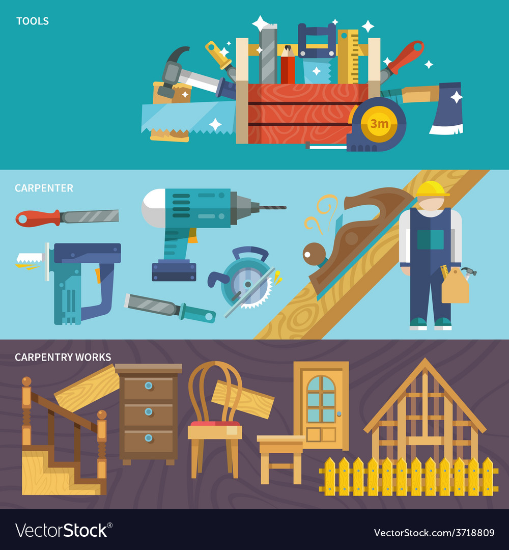 Carpentry banners set vector | Price: 1 Credit (USD $1)