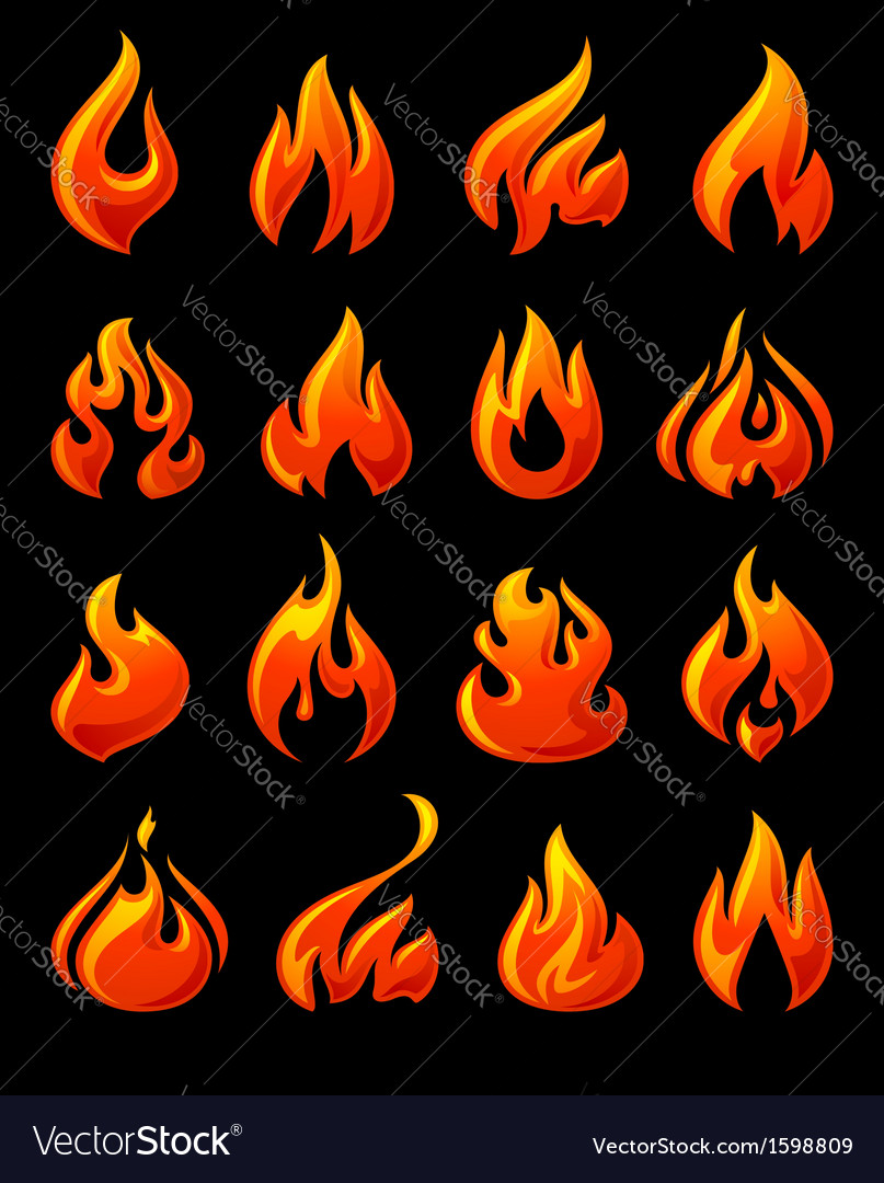 Fire flames set 3d red icons on a black ground vector | Price: 1 Credit (USD $1)