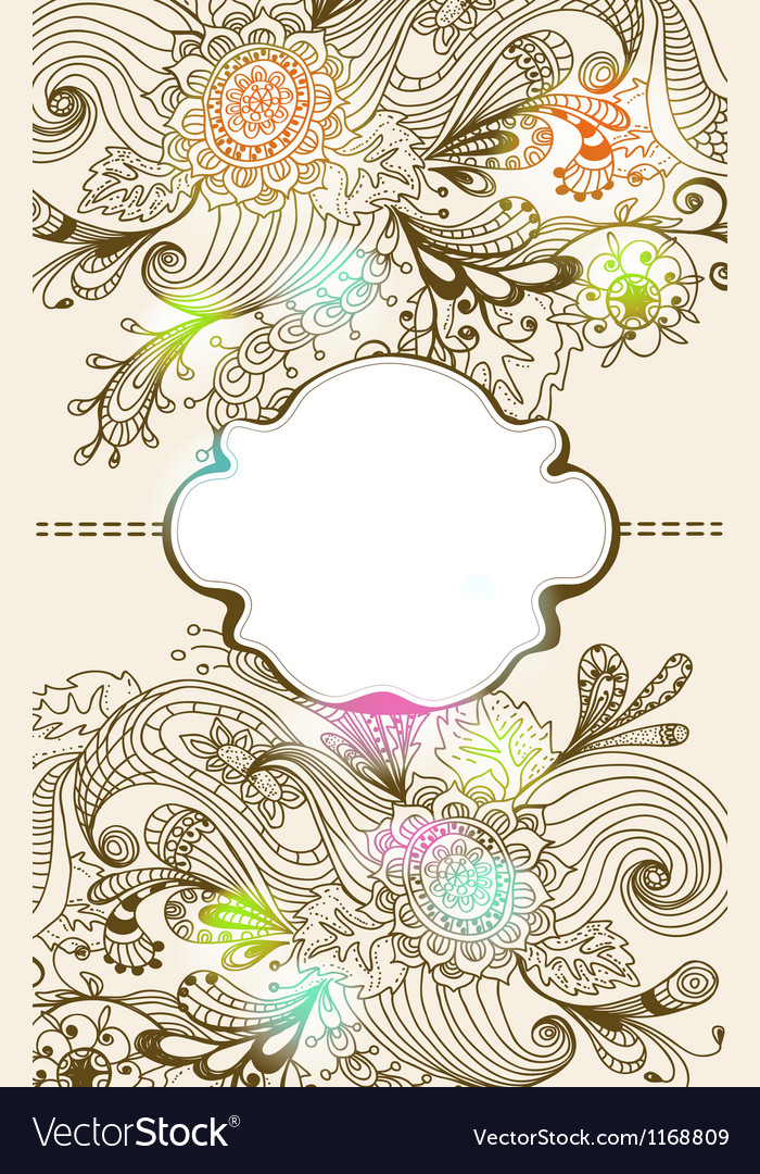 Floral card with label vector | Price: 1 Credit (USD $1)