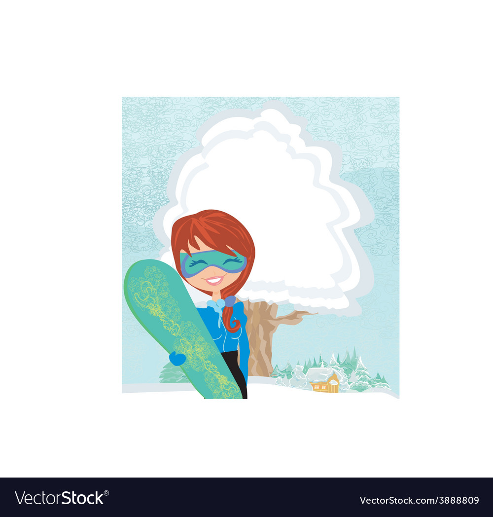 Girl with the snowboard vector | Price: 1 Credit (USD $1)
