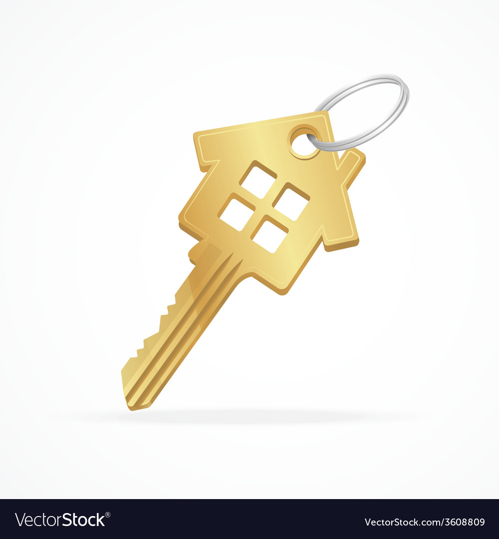 House key isolated on white vector | Price: 1 Credit (USD $1)