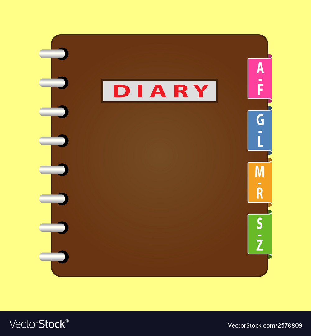 Personal organizer diary with brown cover vector | Price: 1 Credit (USD $1)