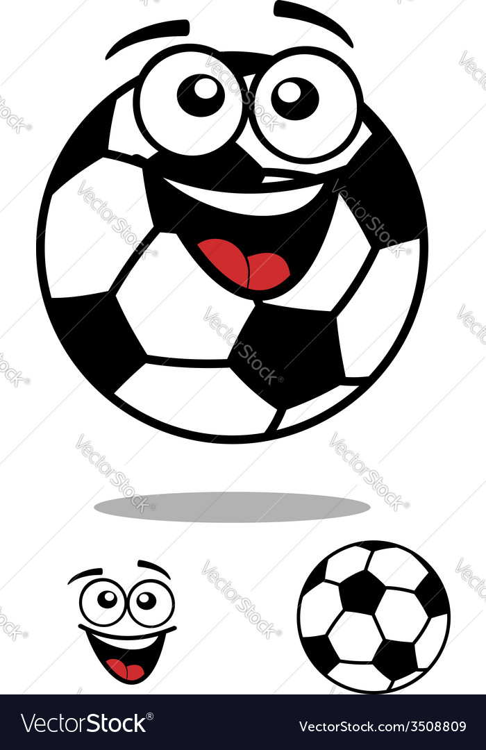 Soccer ball smiling cartoon personage vector | Price: 1 Credit (USD $1)