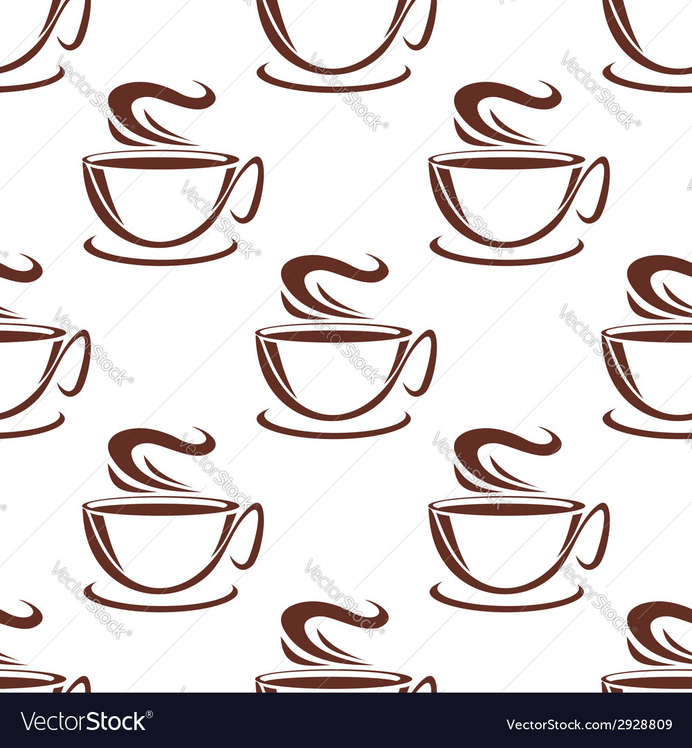 Steaming coffee cups seamless pattern vector | Price: 1 Credit (USD $1)