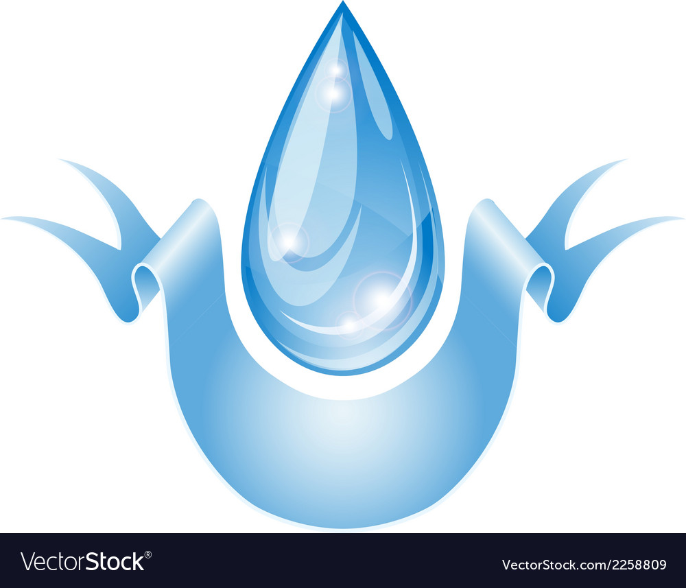 Stylized water drop with ribbon vector | Price: 1 Credit (USD $1)