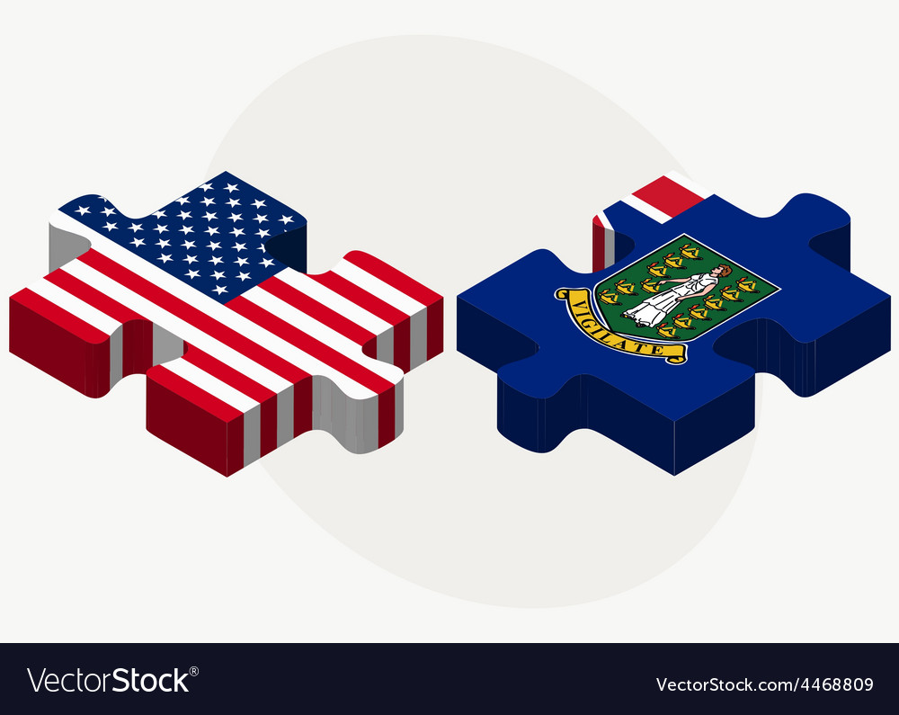 Usa and british virgin islands flags in puzzle vector | Price: 1 Credit (USD $1)
