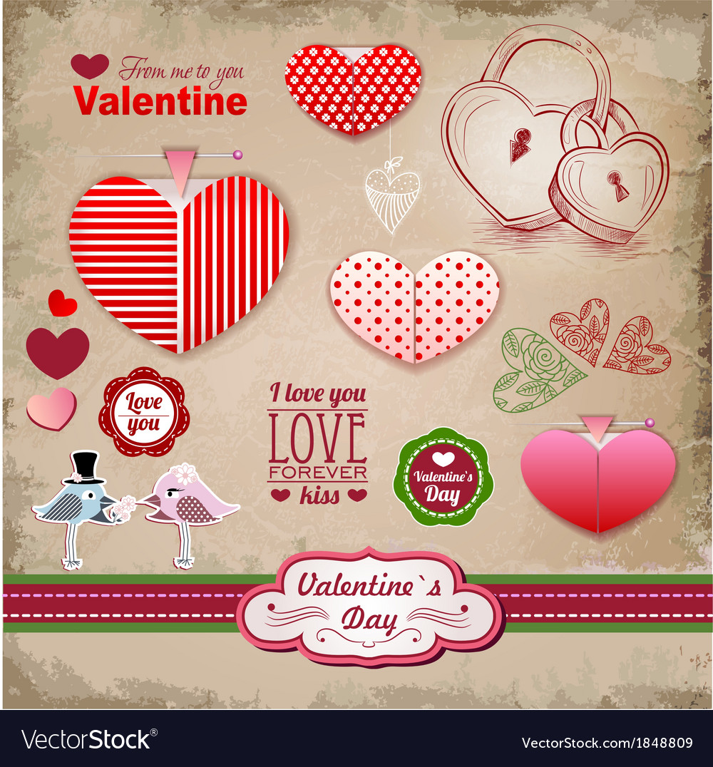 Valentine day labels and icons elements collection vector | Price: 1 Credit (USD $1)