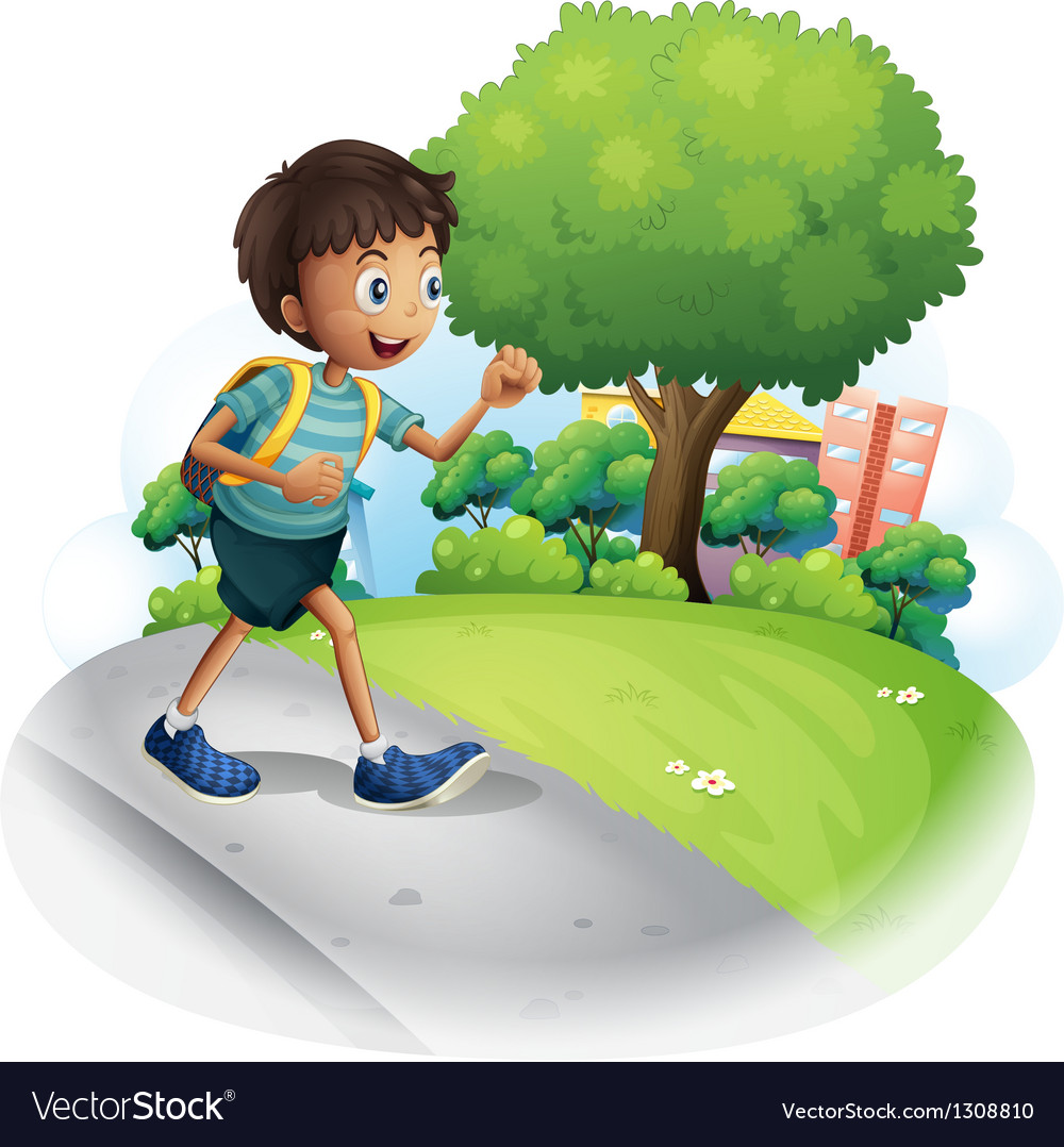 A boy with a bag walking along the street vector | Price: 1 Credit (USD $1)