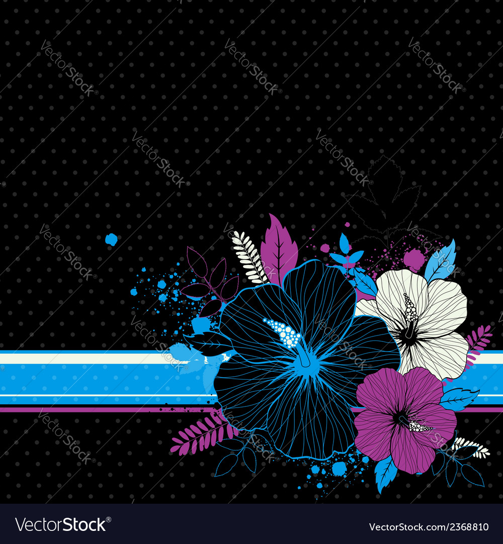 Bouquet of hibiscus on black background vector | Price: 1 Credit (USD $1)