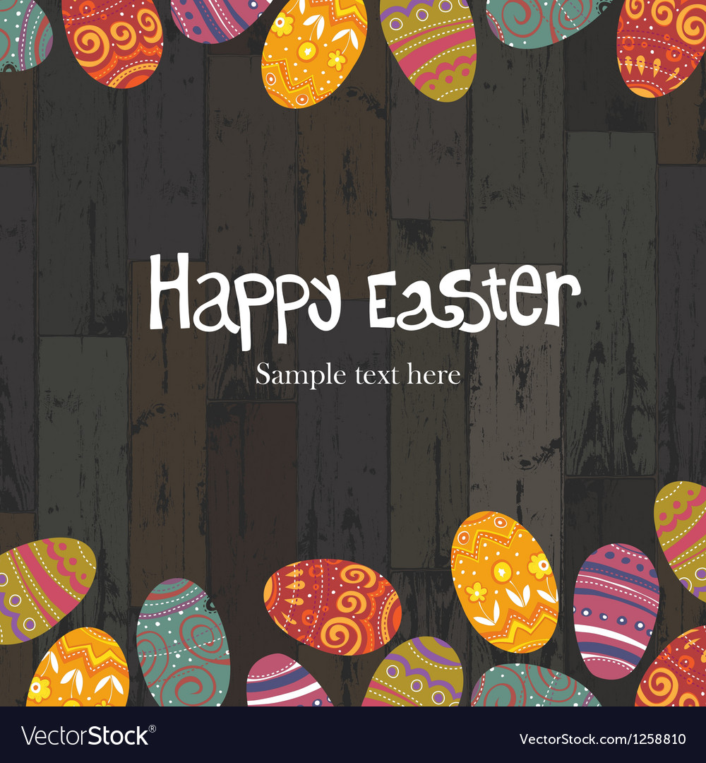 Easter eggs on wooden backround vector | Price: 1 Credit (USD $1)