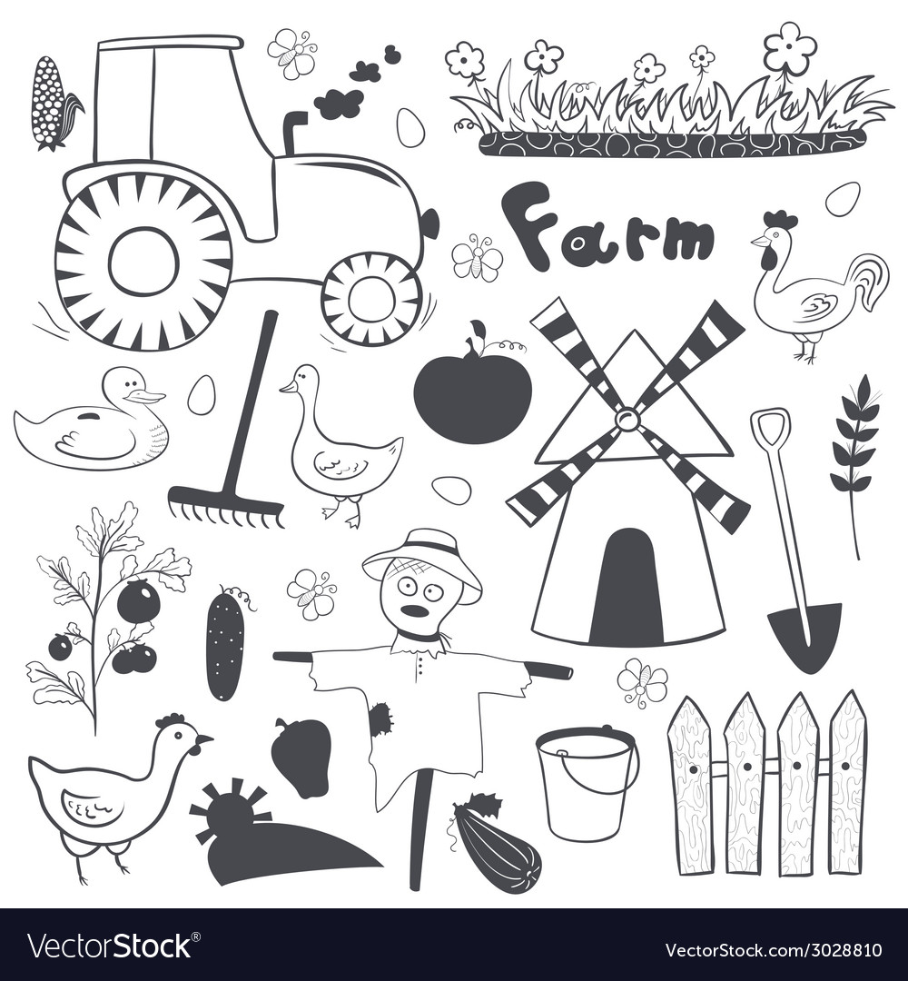 Farm black and white set in doodle style vector | Price: 1 Credit (USD $1)