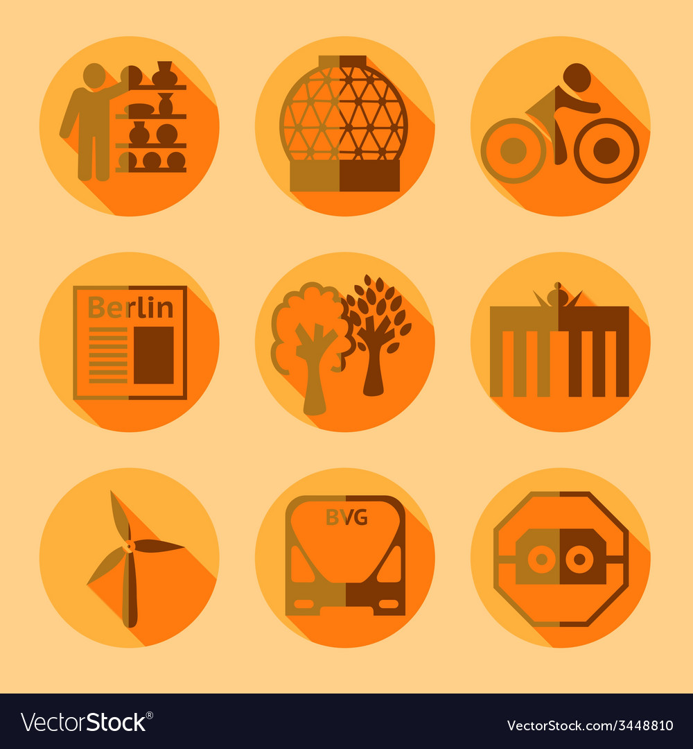 Flat berlin icons with shadow vector | Price: 1 Credit (USD $1)