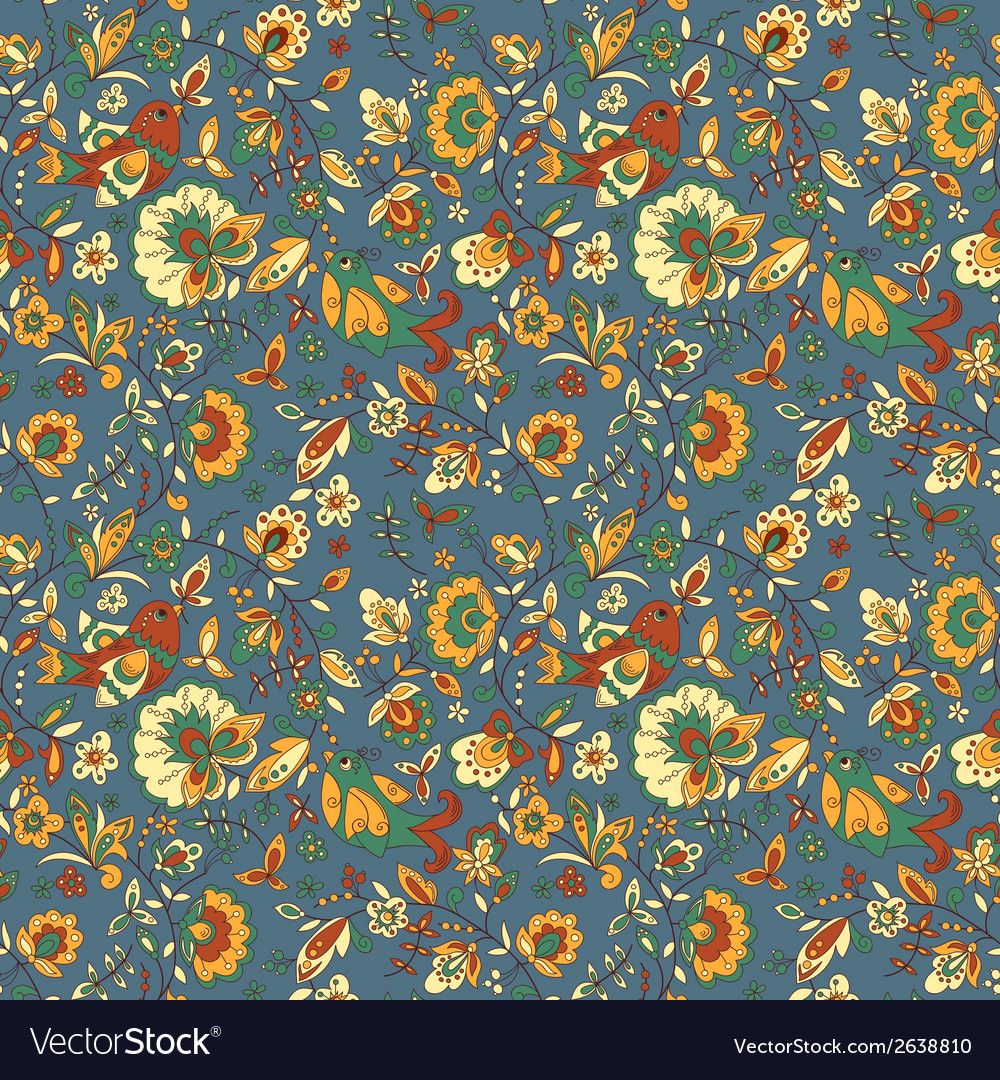 Flower and bird seamless texture vector   Price: 1 Credit (USD $1)