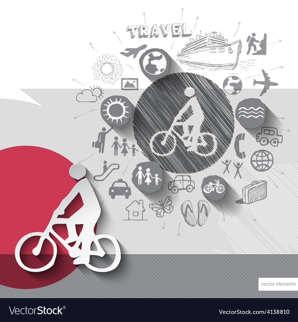 Hand drawn biker icons with icons background vector | Price: 1 Credit (USD $1)