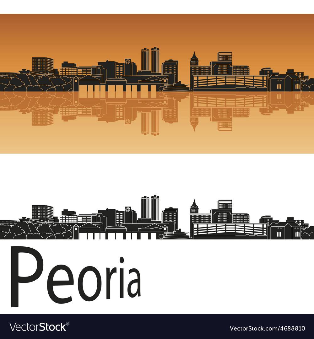 Peoria skyline in orange vector | Price: 1 Credit (USD $1)