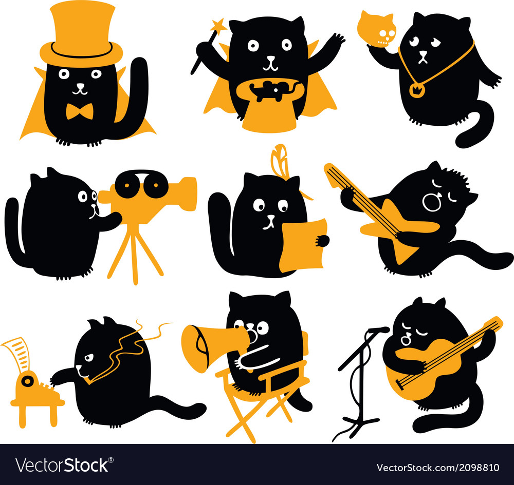 Set of black cats creative professions vector | Price: 1 Credit (USD $1)