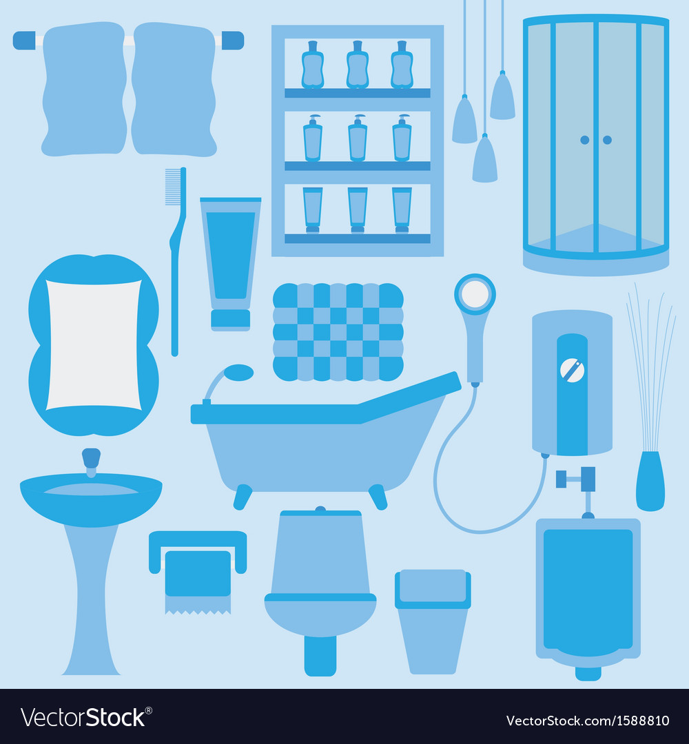 Set of furniture in bathroom vector | Price: 1 Credit (USD $1)