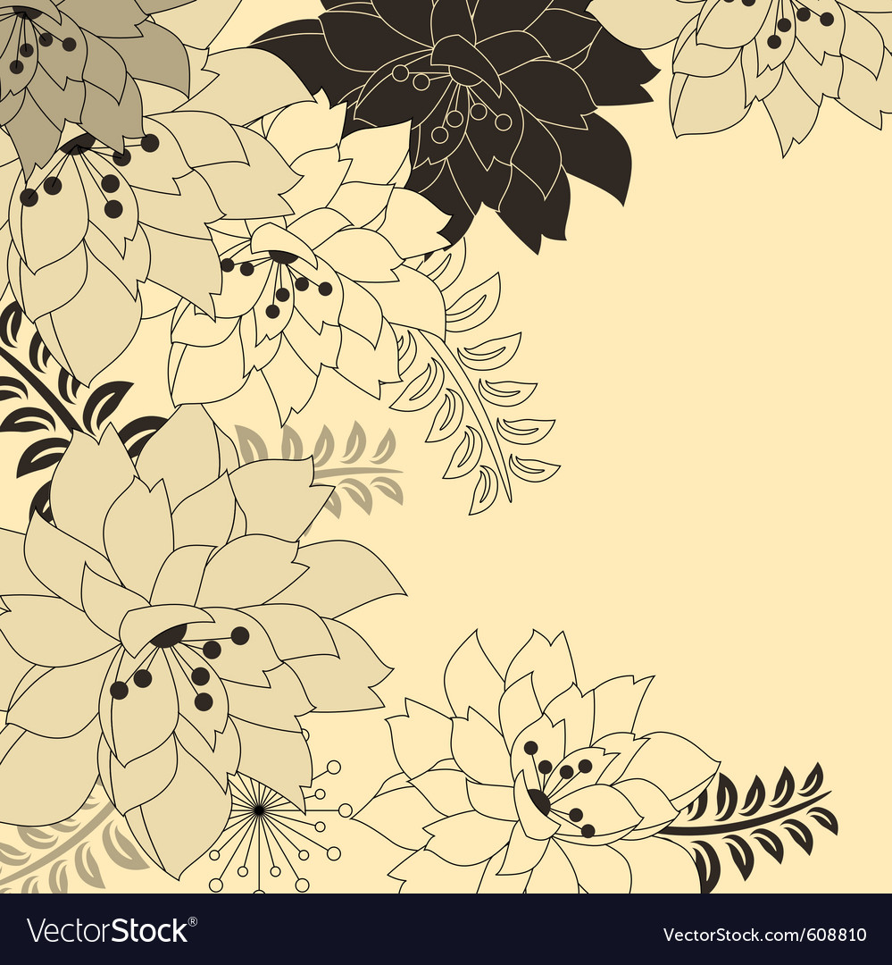 Stylish floral beige background vector | Price: 1 Credit (USD $1)