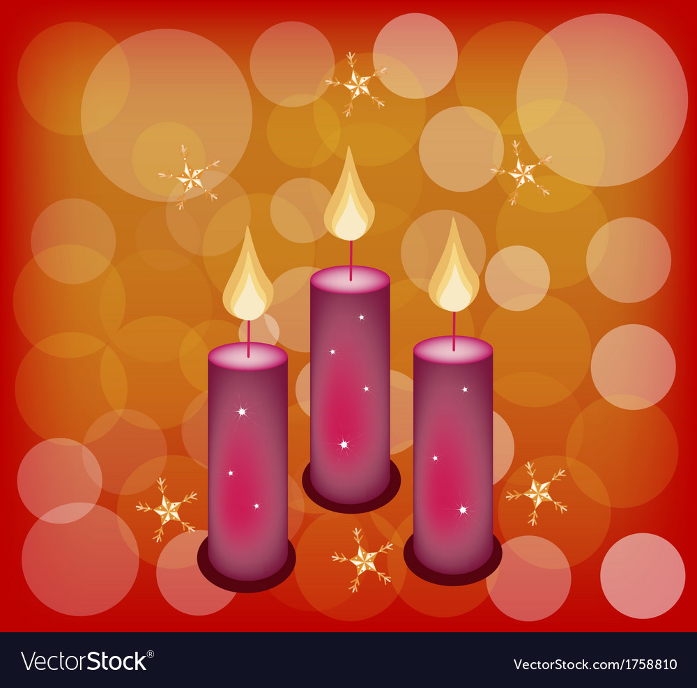 Three candles on a red abstract background vector | Price: 1 Credit (USD $1)