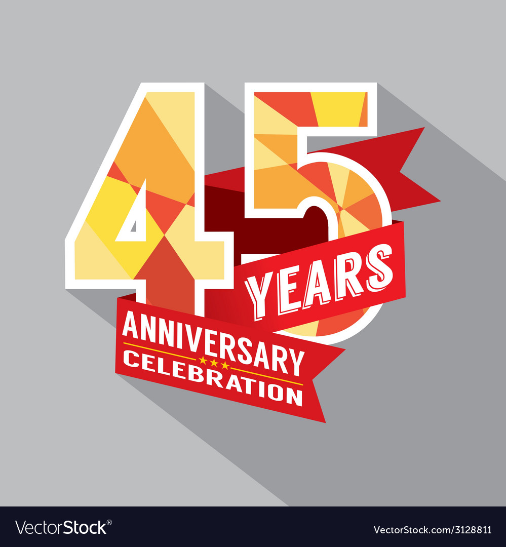 45th years anniversary celebration design vector | Price: 1 Credit (USD $1)