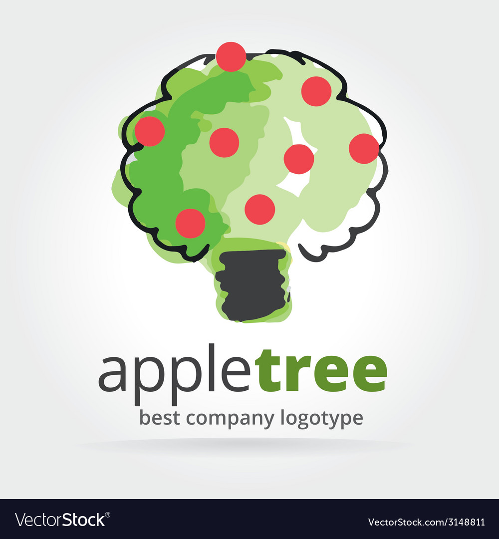 Abstract apple tree logotype isolated on white vector | Price: 1 Credit (USD $1)