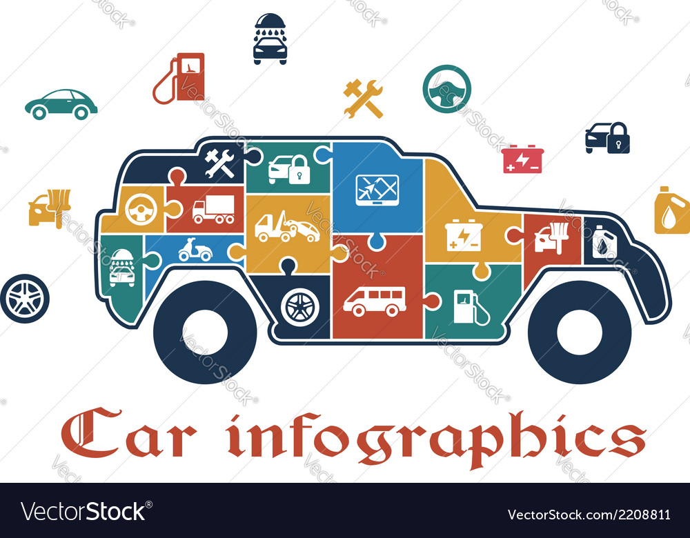 Colorful puzzle car infographic vector | Price: 1 Credit (USD $1)