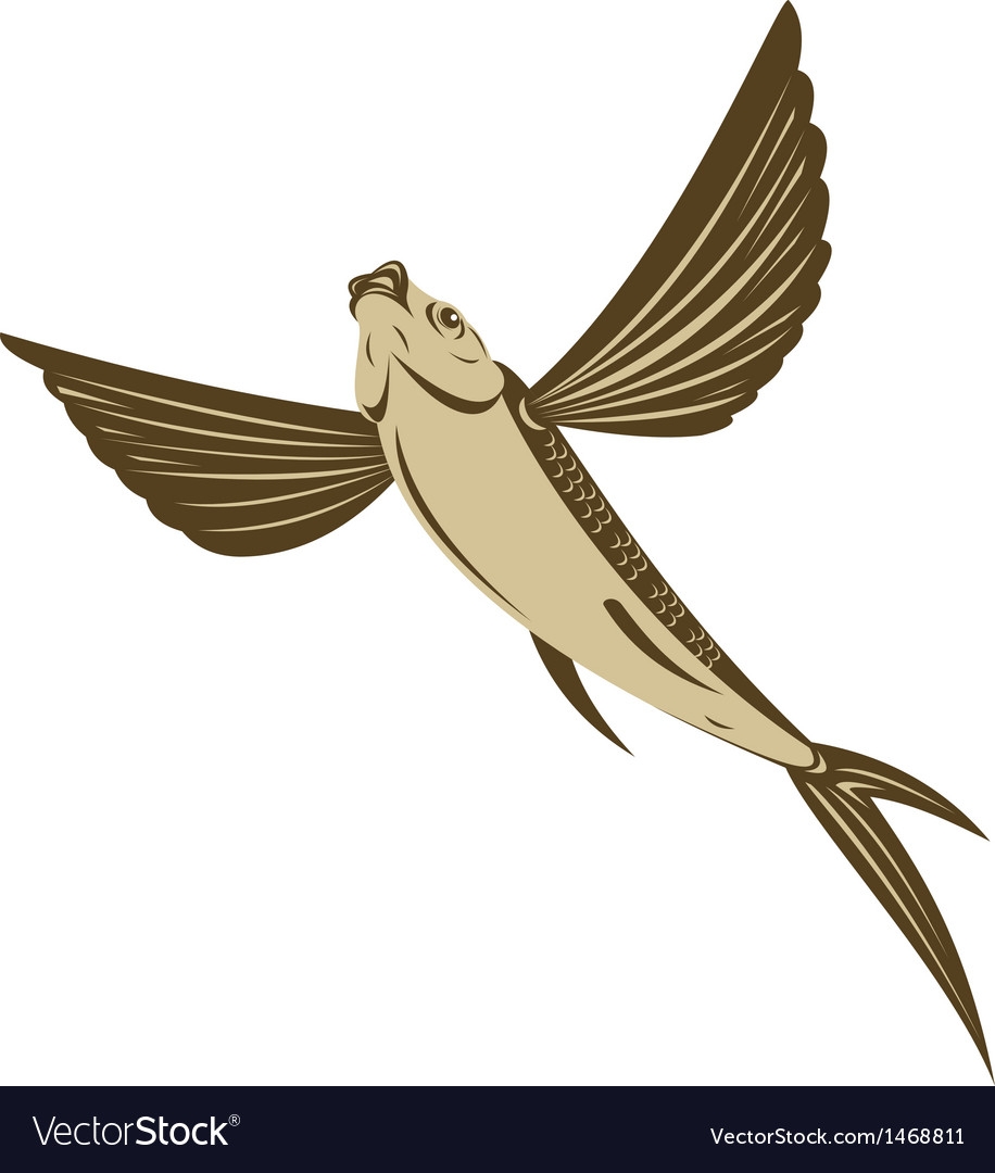 Flying fish retro style vector | Price: 1 Credit (USD $1)