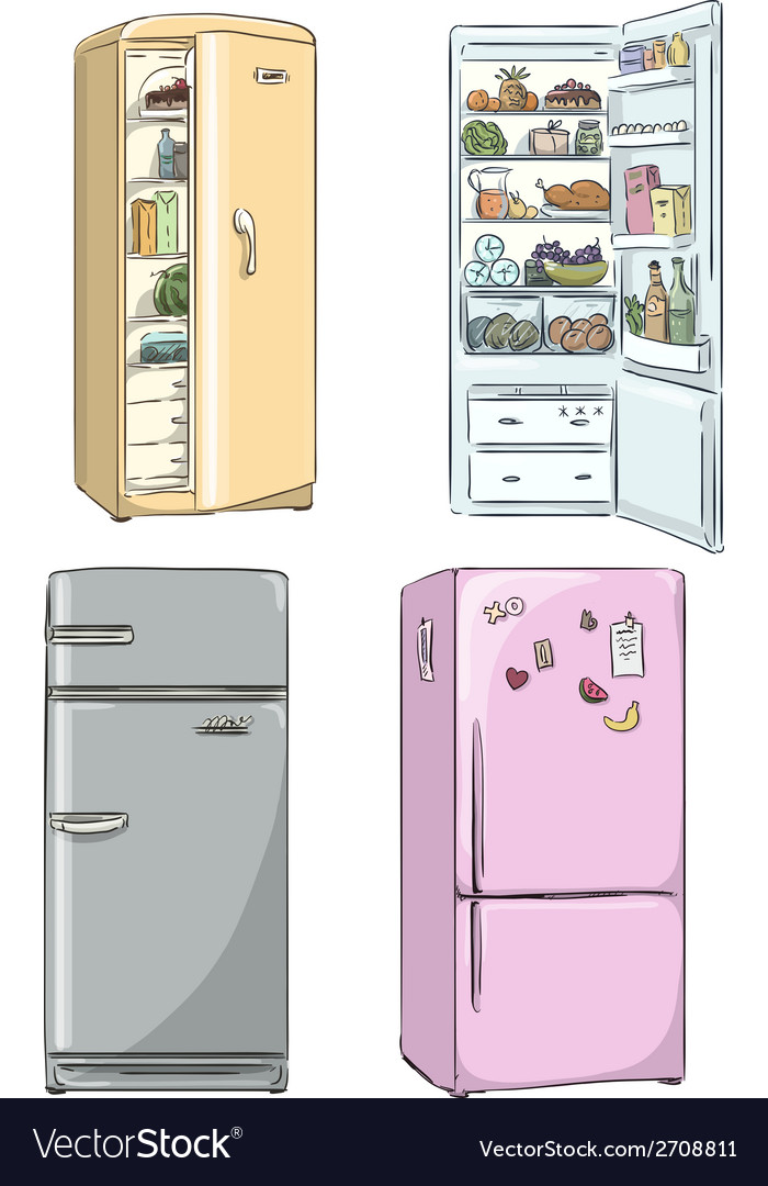 Set of four hand drawn cartoon fridges vector | Price: 1 Credit (USD $1)