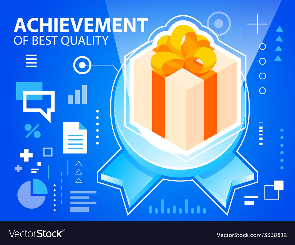 Bright emblem and gift box with bow on blue vector | Price: 3 Credit (USD $3)