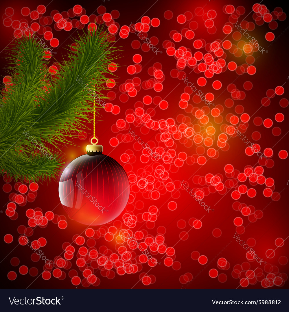 Christmas background with red ball and christmas vector | Price: 1 Credit (USD $1)