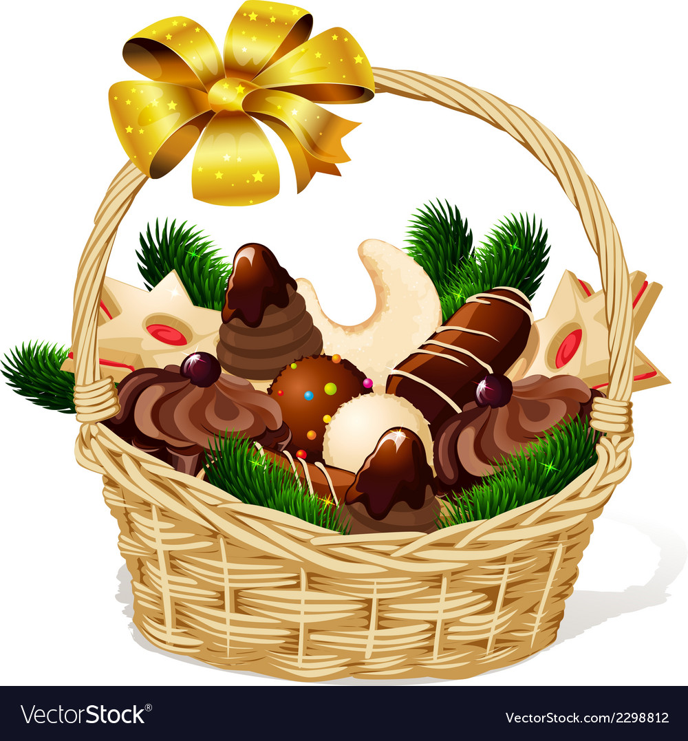 Christmas cookie on basket isolated on white vector | Price: 3 Credit (USD $3)