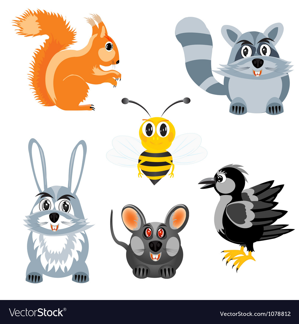 Drawing of the beasts and birds vector | Price: 1 Credit (USD $1)