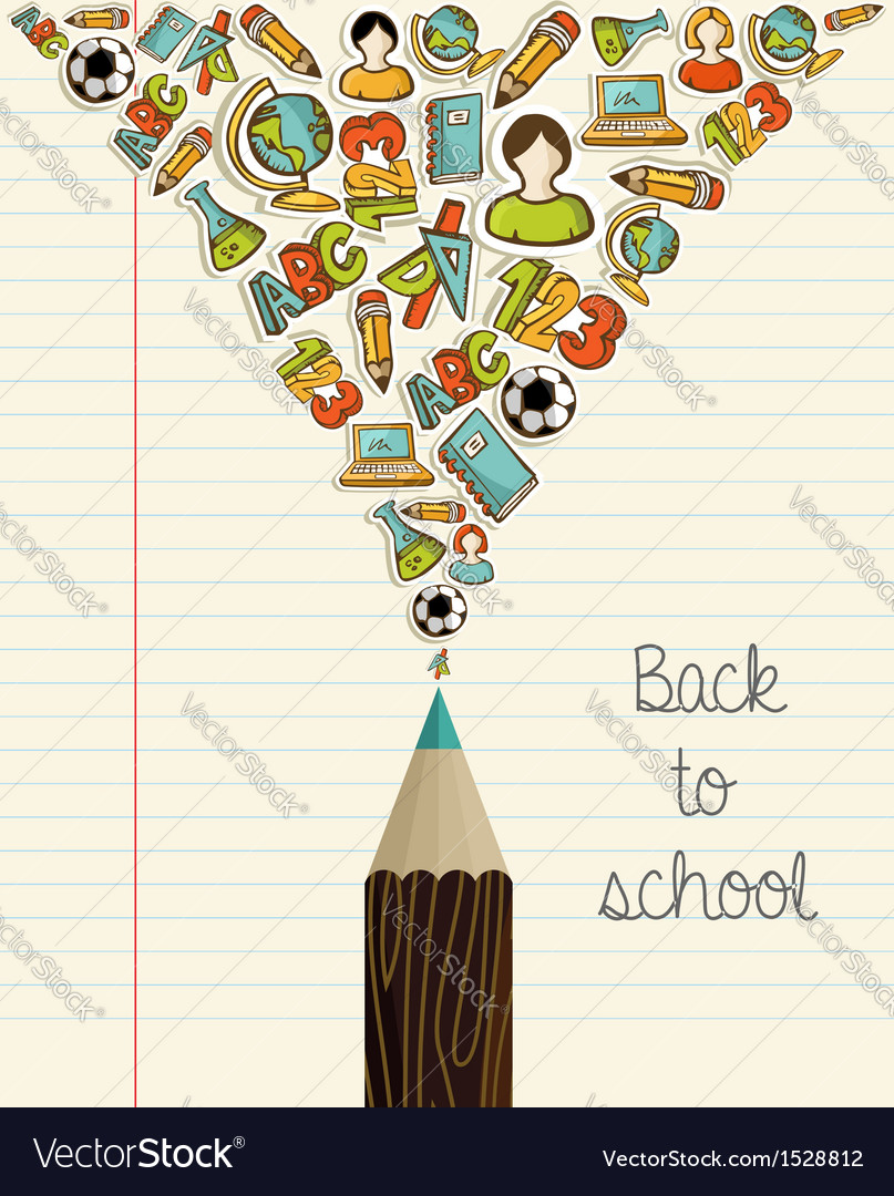 Education icons back to school pencil vector | Price: 1 Credit (USD $1)