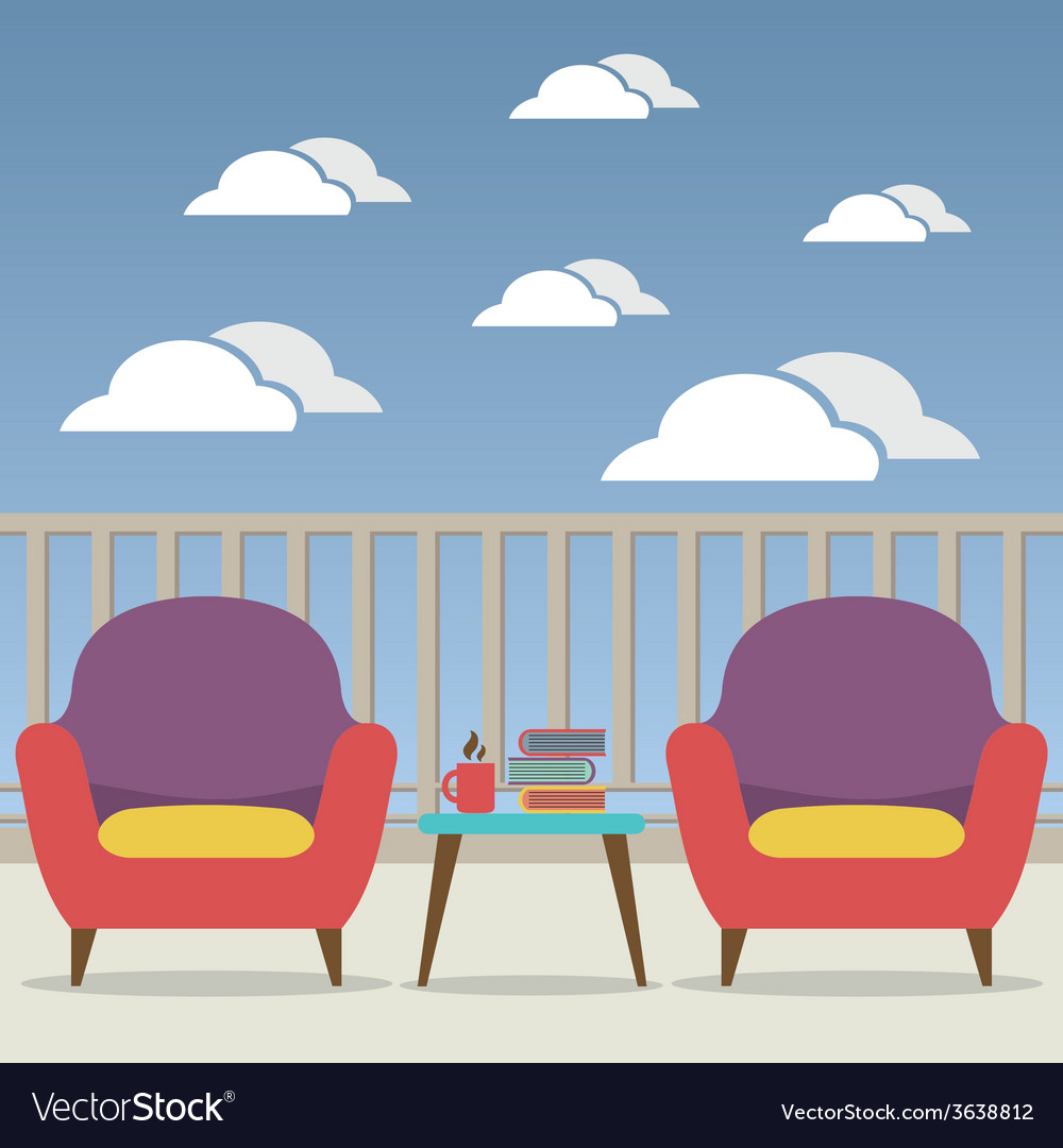 Empty sofa interior set at balcony vector | Price: 1 Credit (USD $1)