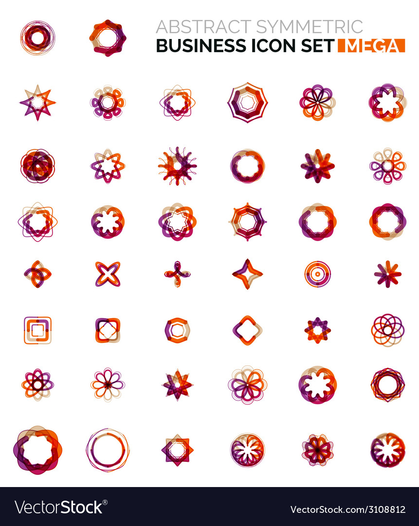 Flower star shaped business icons vector | Price: 1 Credit (USD $1)