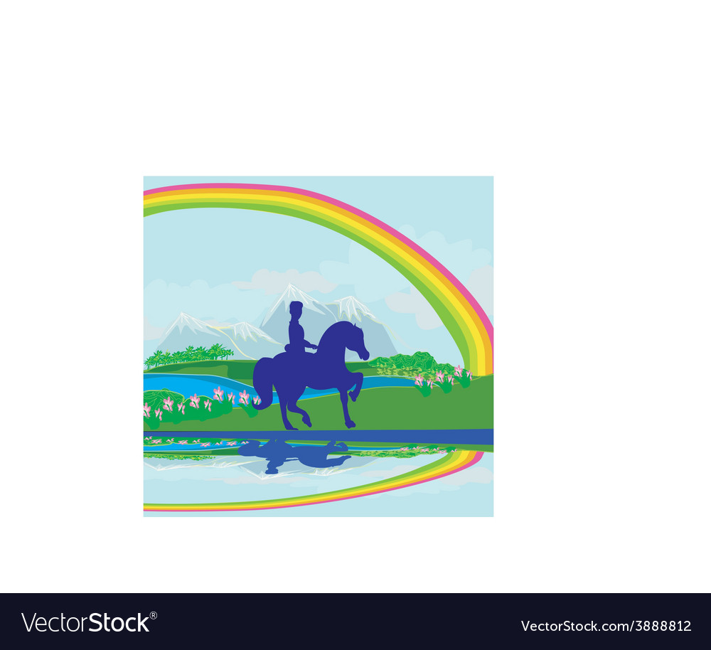 Horseback riding in the summer morning vector | Price: 1 Credit (USD $1)