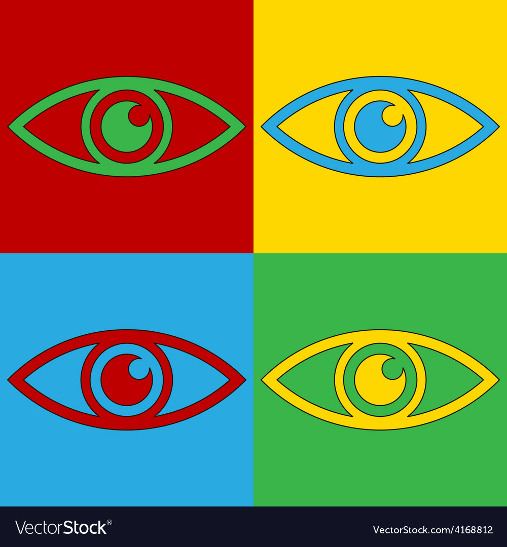 Pop art eye icons vector | Price: 1 Credit (USD $1)