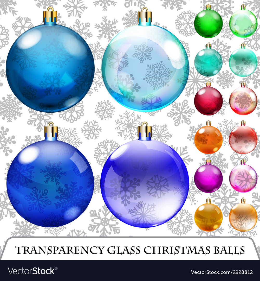 Set of transparent christmas balls vector | Price: 1 Credit (USD $1)