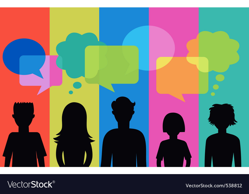 Silhouette of young people with speech bubbles vector | Price: 1 Credit (USD $1)