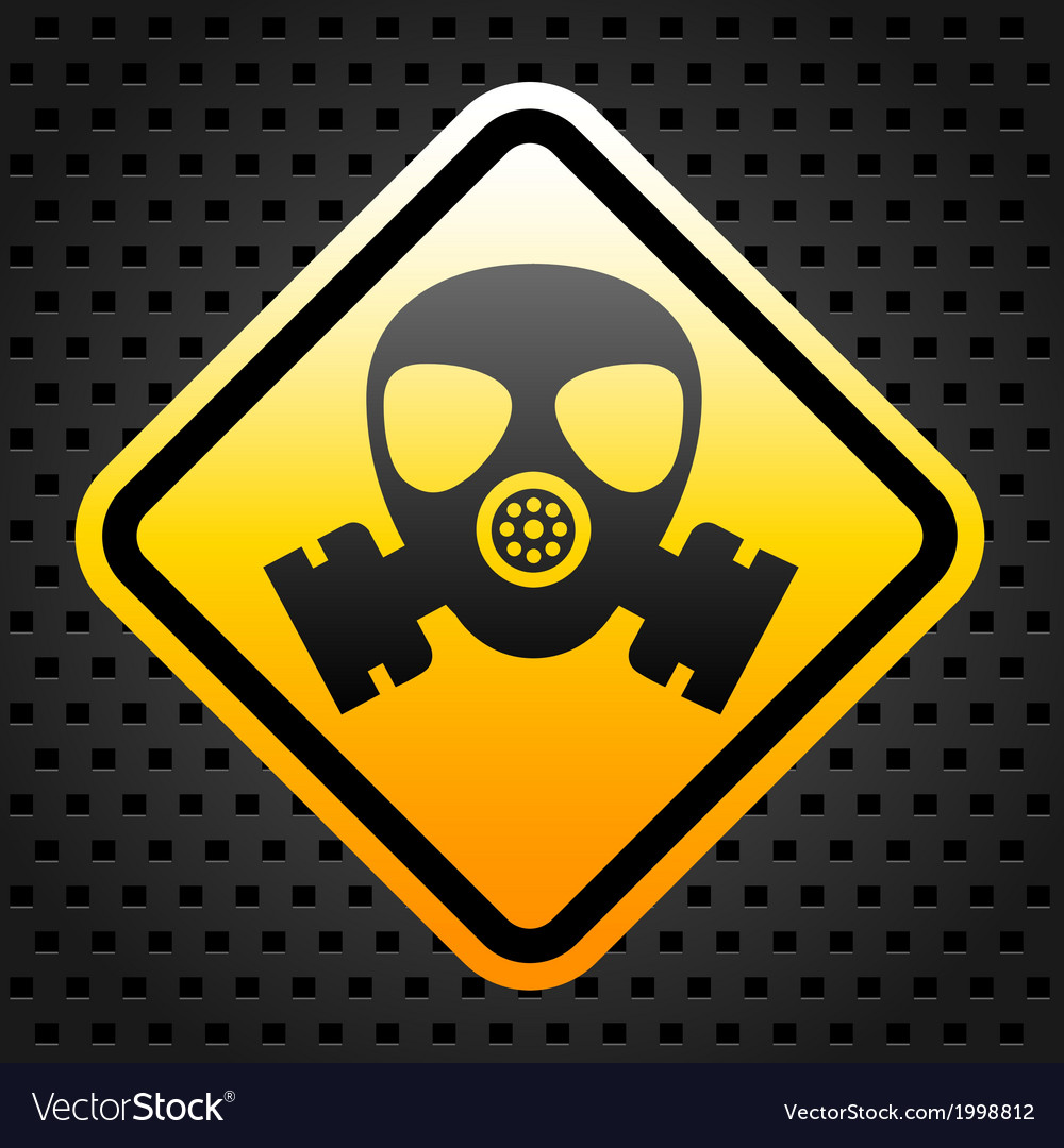 Warning sign with gas mask vector | Price: 1 Credit (USD $1)