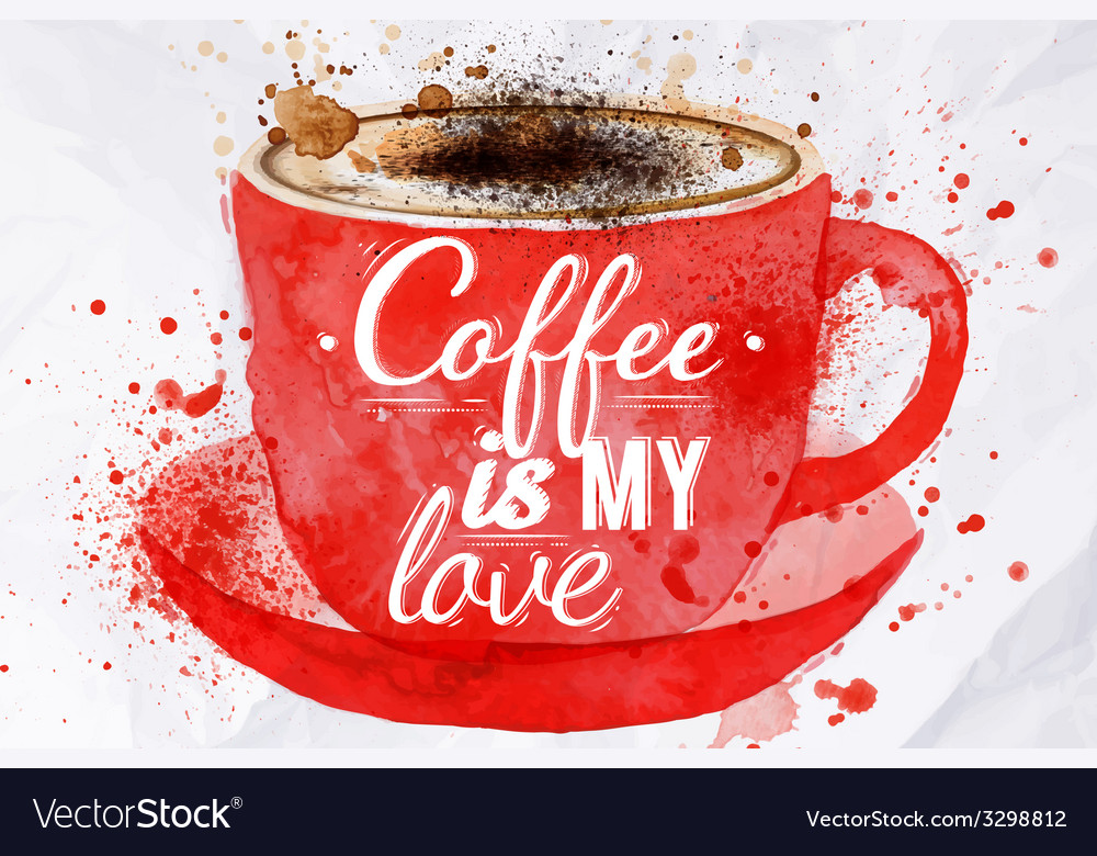Watercolor red cup of cappuccino vector | Price: 1 Credit (USD $1)