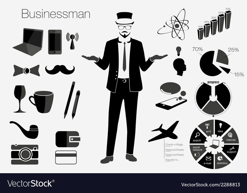 Businessman style elements vector | Price: 1 Credit (USD $1)