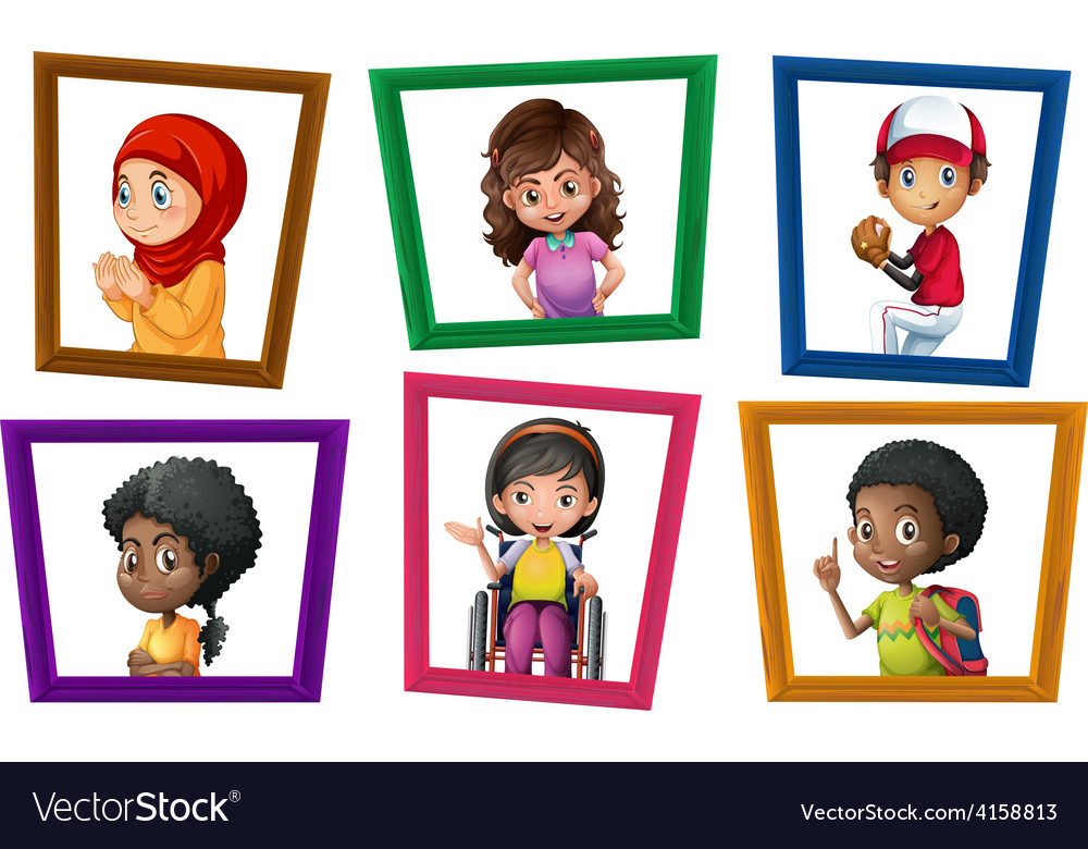 Children in frames vector | Price: 3 Credit (USD $3)