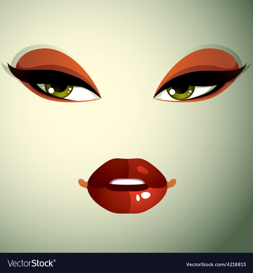 Face makeup lips and eyes of an attractive woman vector | Price: 1 Credit (USD $1)