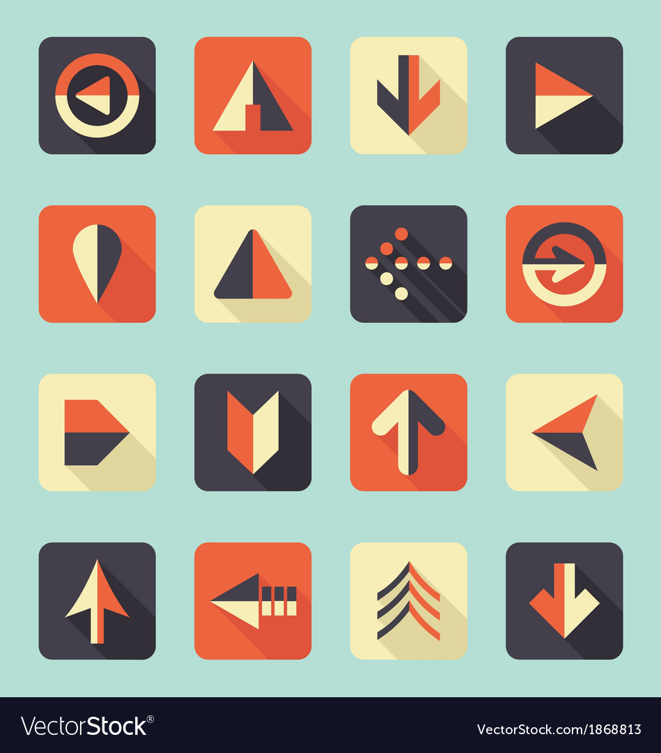 Flat arrow icons with shadows vector | Price: 1 Credit (USD $1)