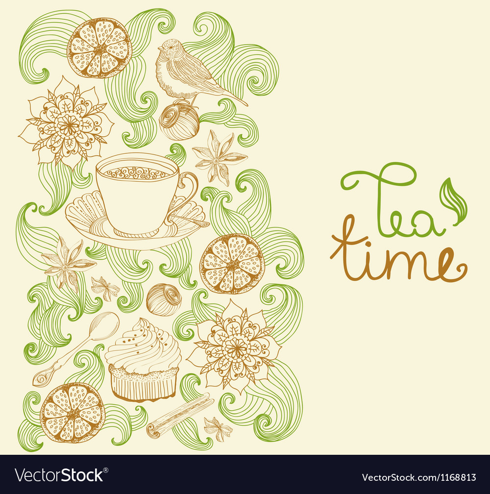 Floral card with tea cup vector | Price: 1 Credit (USD $1)