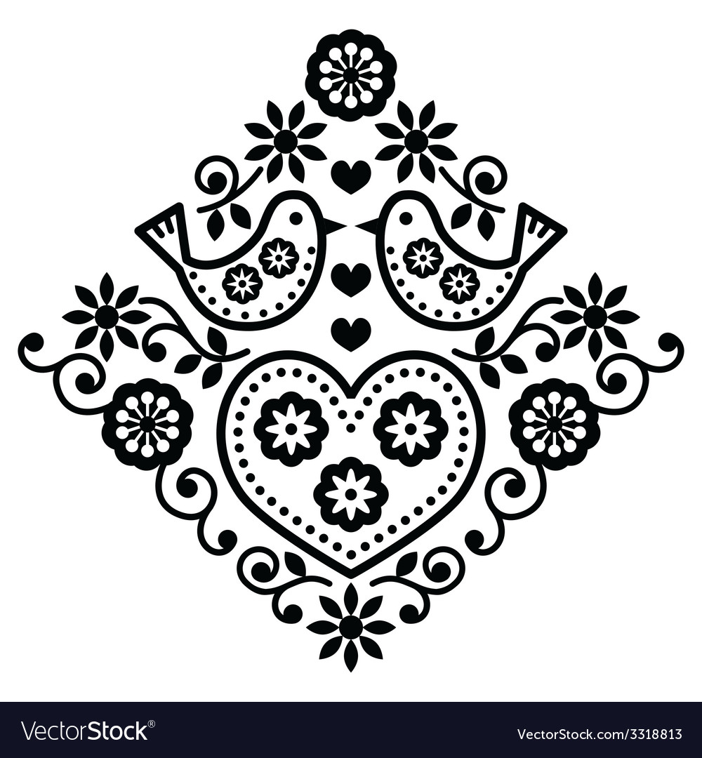 Folk art floral black pattern with birds vector