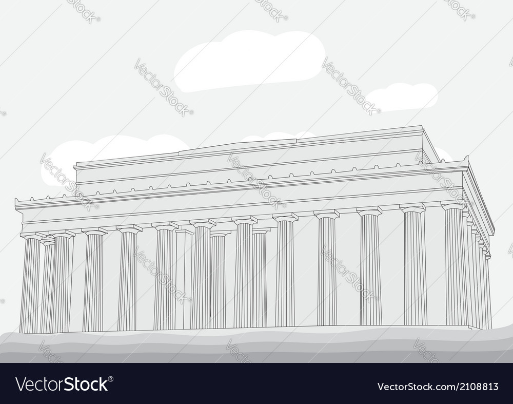 Lincoln memorial center washington dc vector | Price: 1 Credit (USD $1)