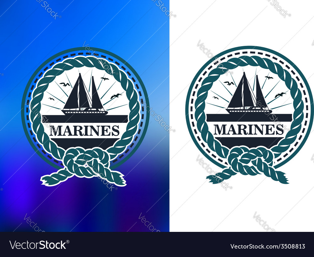 Marines circle emblem logo in retro style vector | Price: 1 Credit (USD $1)
